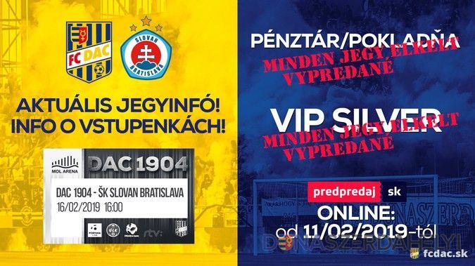 Aktuálne o vstupenkách na DAC-Slovan: už len online